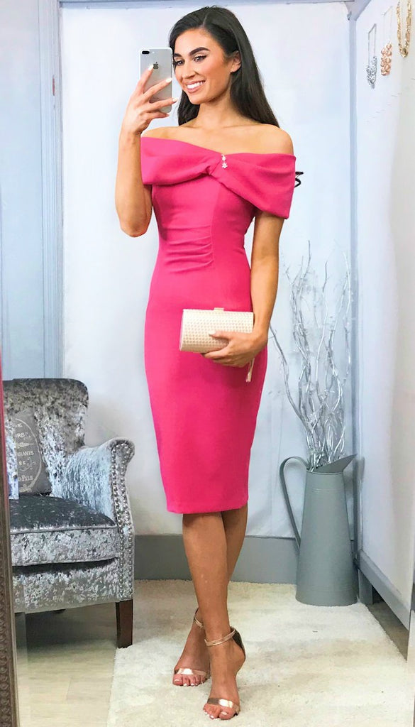 5538 Pink Mariposa Bardot Dress