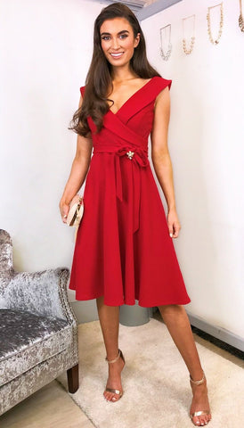 5560 Camila Sheer Sleeve Flare Dress
