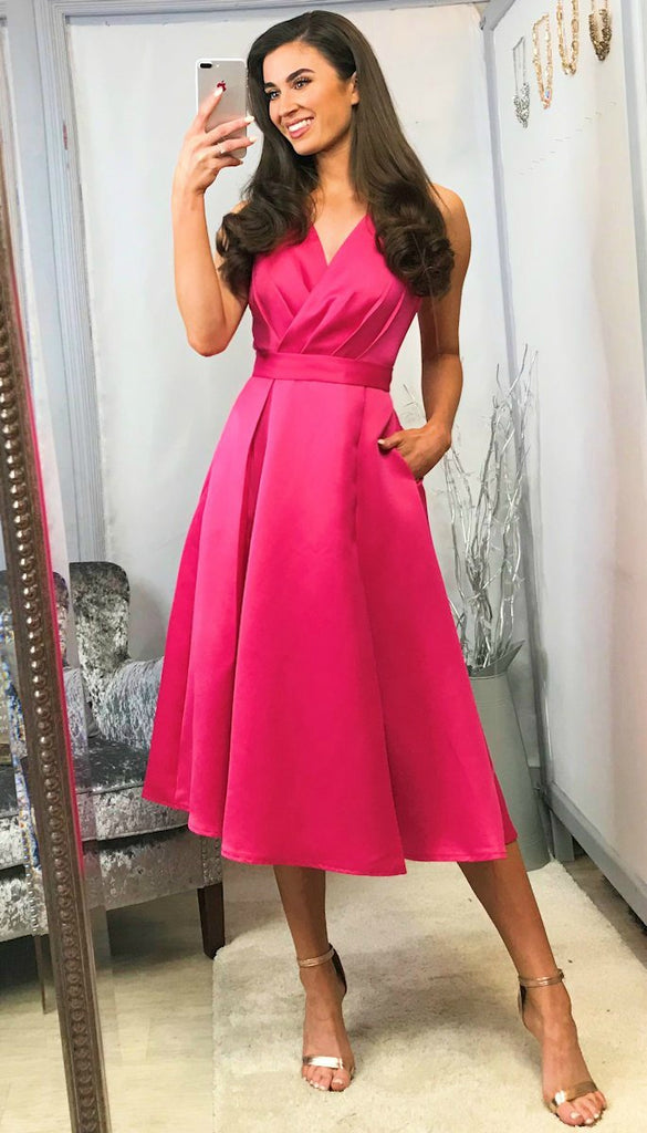 5-5587 - (SIZES 8,14,16) -Aurora Pink Lace Back Flare Dress