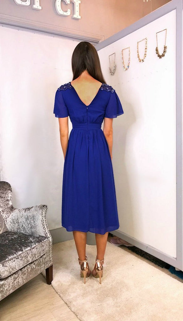4-5654 - (SIZE 8 ONLY) - Bailey Royal Chiffon Flare Dress