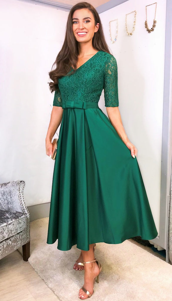 5-5752 - (SIZE 14 ONLY) - Olena Green Midi Flare Dress