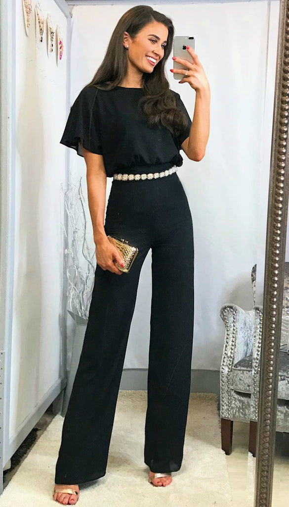 4-5754 - (SIZE 18 ONLY) - Nella Black Belted Jumpsuit