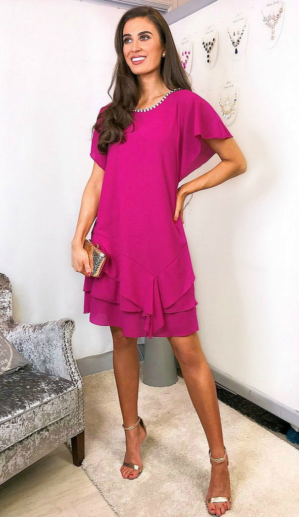 0000 5698 Paola Fuschia Frill Shift Dress