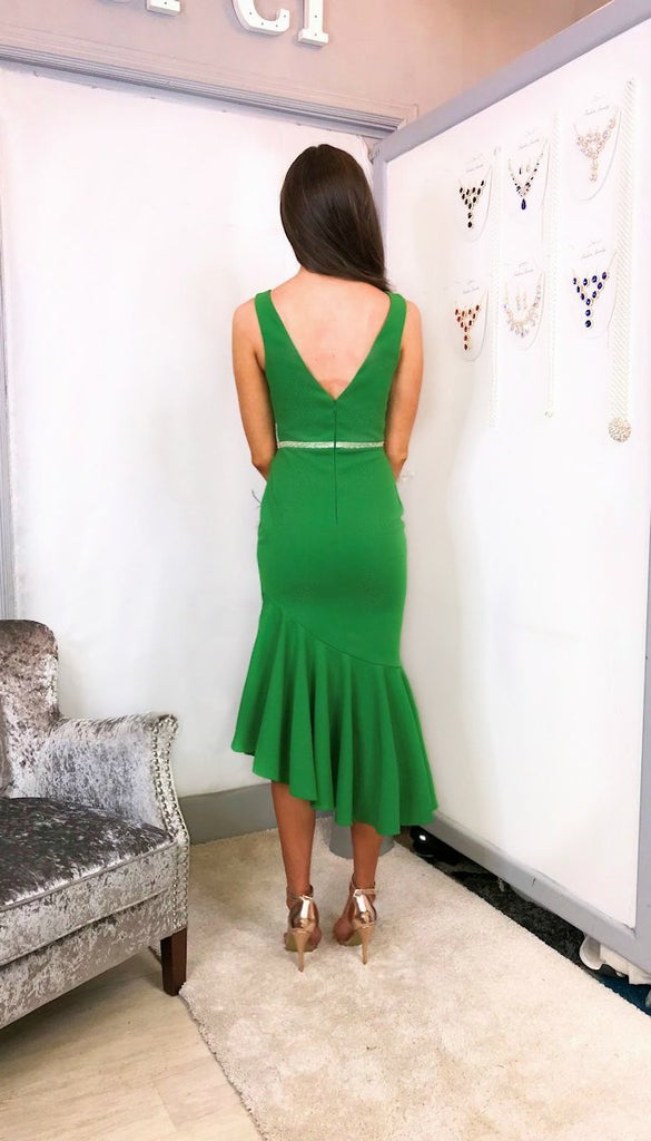 4-5708 - (SIZES 14,16) - Gweny Green Peplum Midaxi Dress
