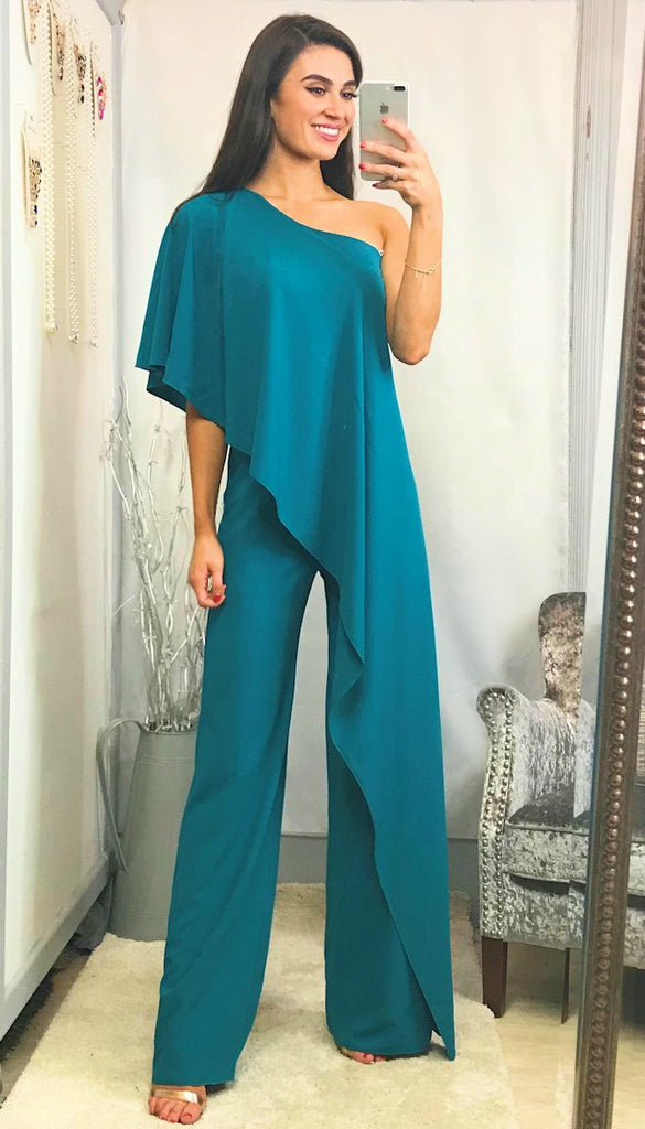 5-5750 - (SIZE 8 ONLY) - Camile One Shoulder Jumpsuit