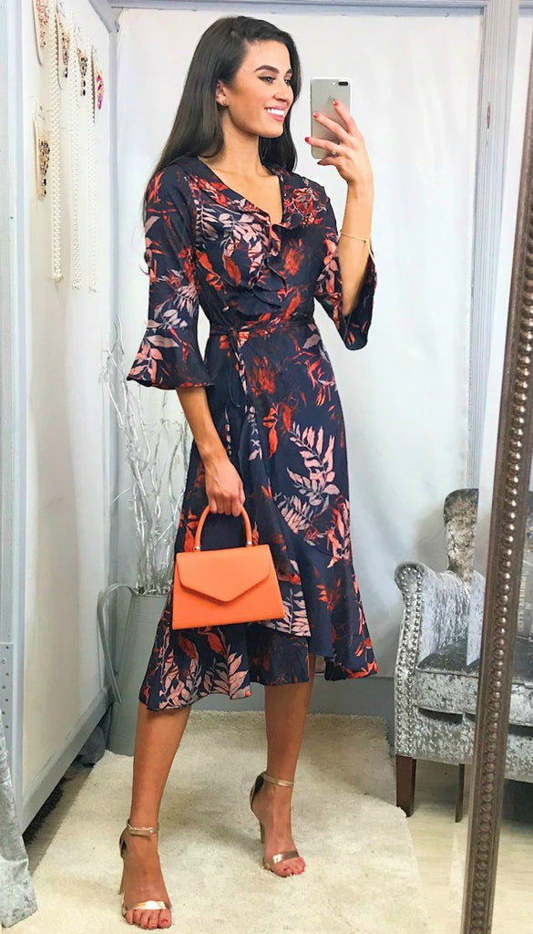 5767 - (SIZES 8,10,14) - Jacie Navy Print Wrap Dress
