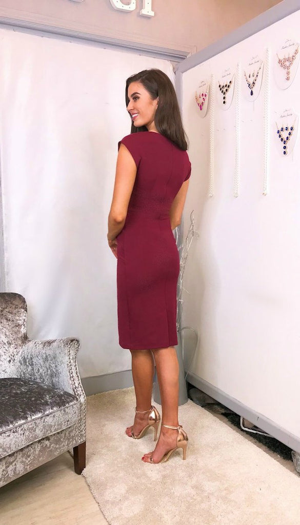 0000 5720 Burgundy Daphne Pencil Dress