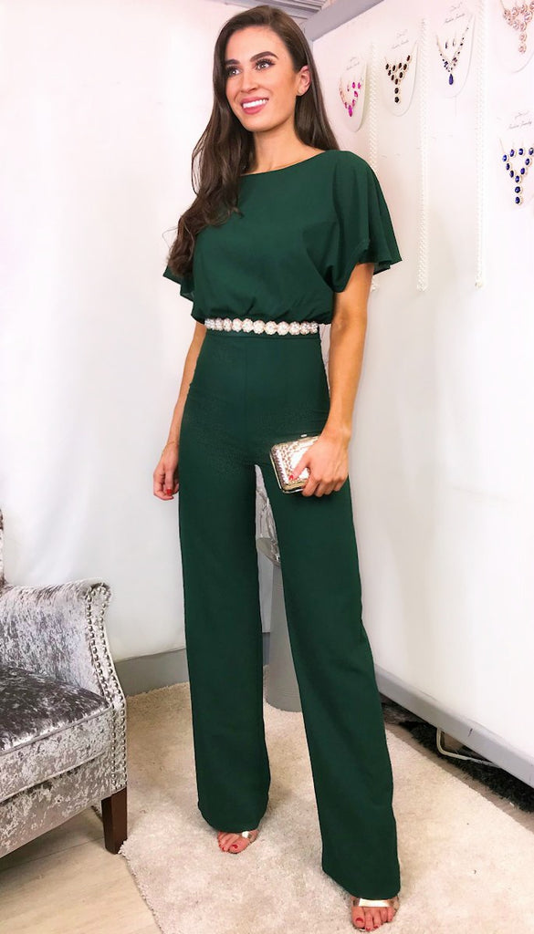 4-5738 - (SIZE 8 ONLY) - Triona Dark Green Jumpsuit