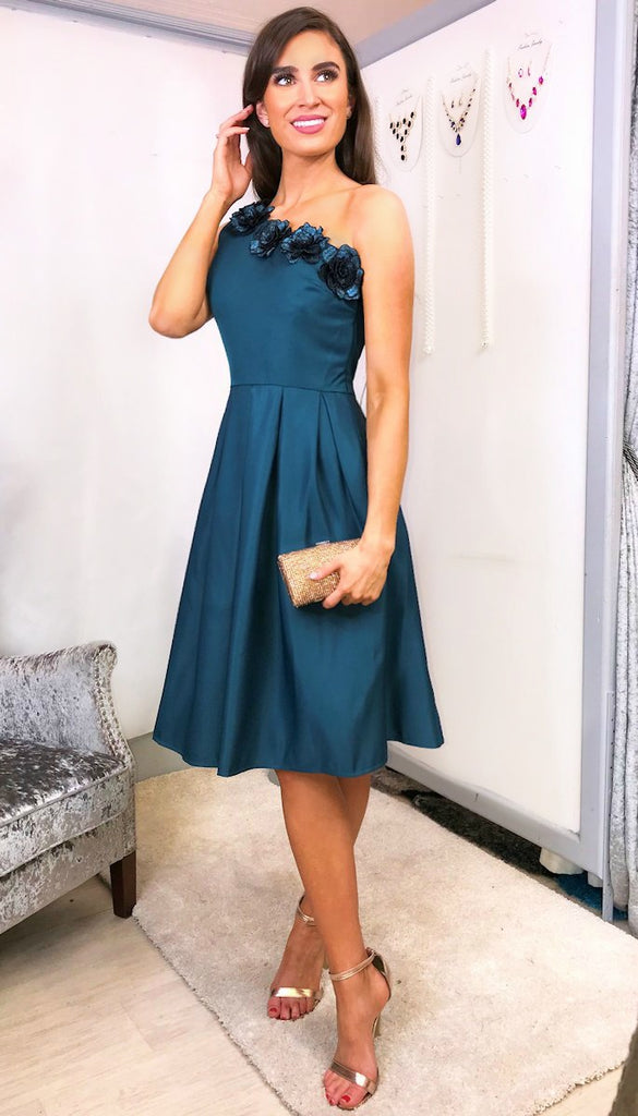 5778 Georgia Green One Shoulder Dress