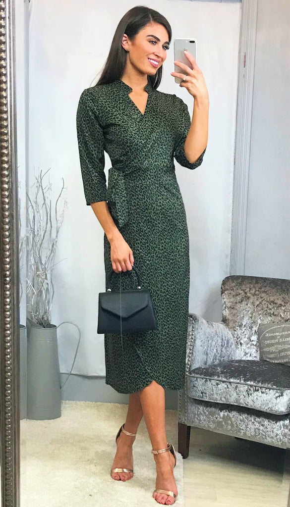 5-5765 - (SIZE 10 ONLY) - Olive Leopard Print Wrap Dress
