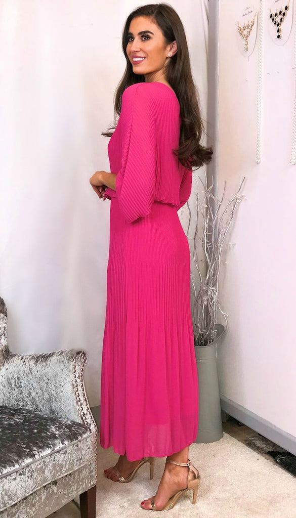 5744 Pink Midaxi Batwing Dress