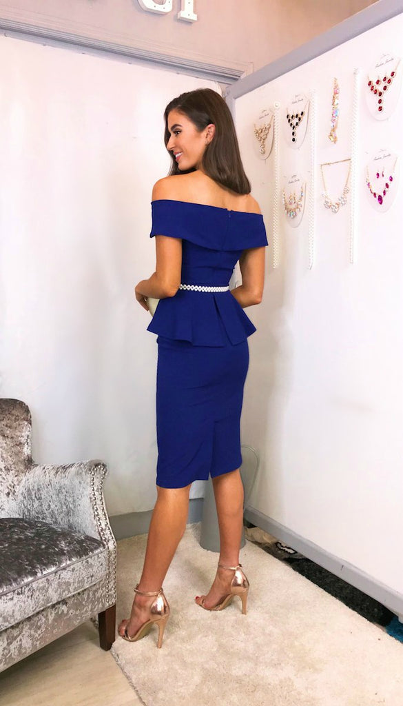 5814 Brisie Bardot Peplum Dress