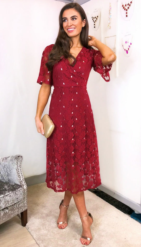 5835 - (SIZES 10,12,14) - Catania Wine Lace Floral Dress