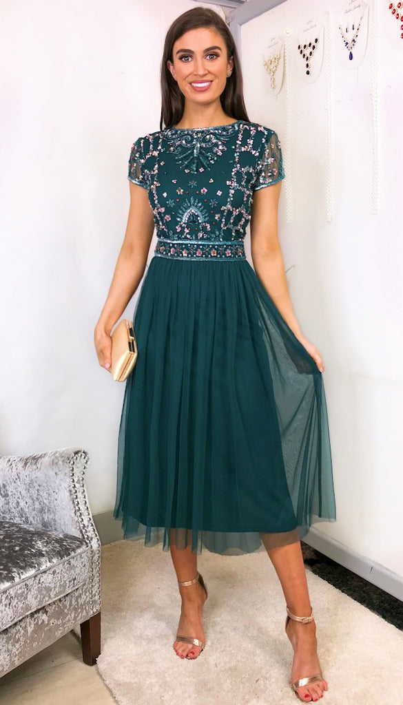 5-5956 - (SIZE 8,16) - Regina Green Embellished Tulle Dress