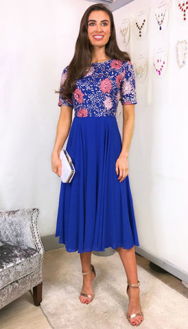 5-5733 Blue Midaxi Batwing Dress