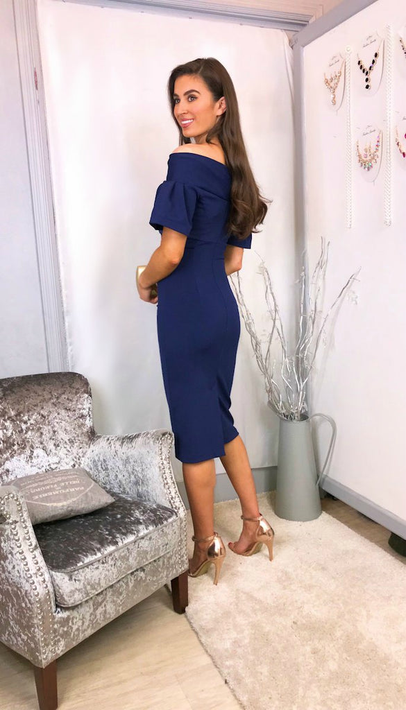 5834 Mistique Navy Bardot Dress