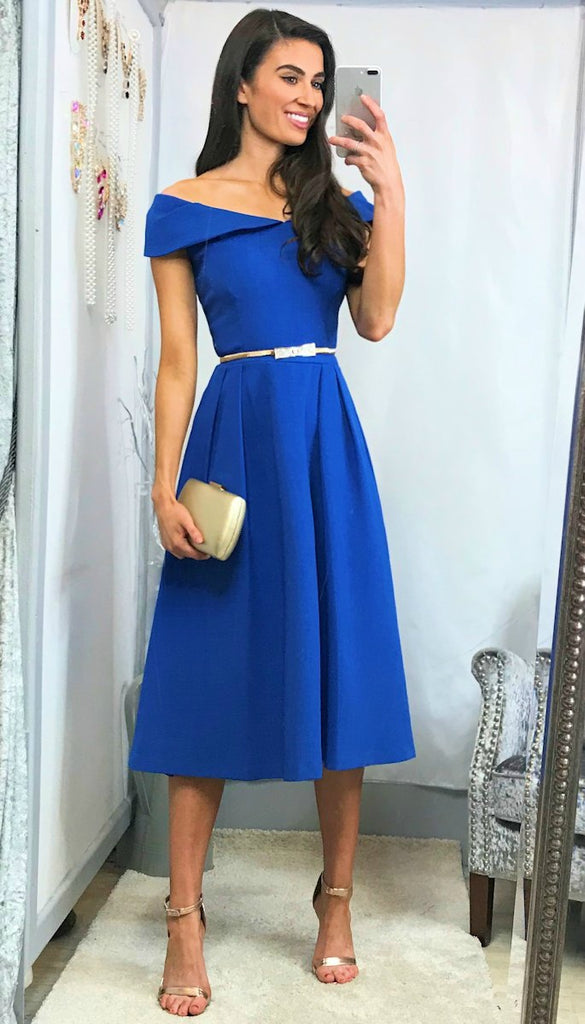 5-5897 - (SIZE 8,12) - Vivienne Blue Bardot Flare Dress