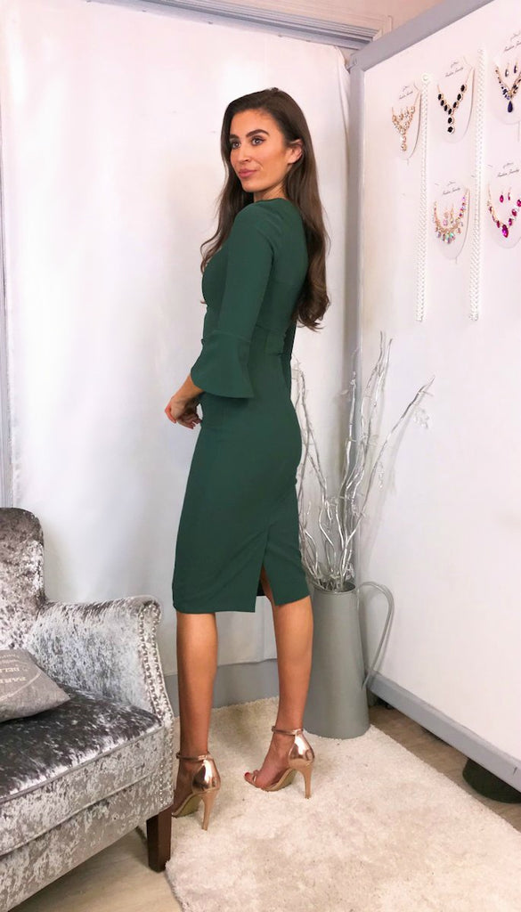 5847 Tiago Bell Sleeved Green Dress