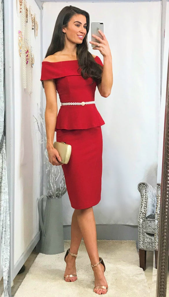 5845 Catherine Red Bardot Dress