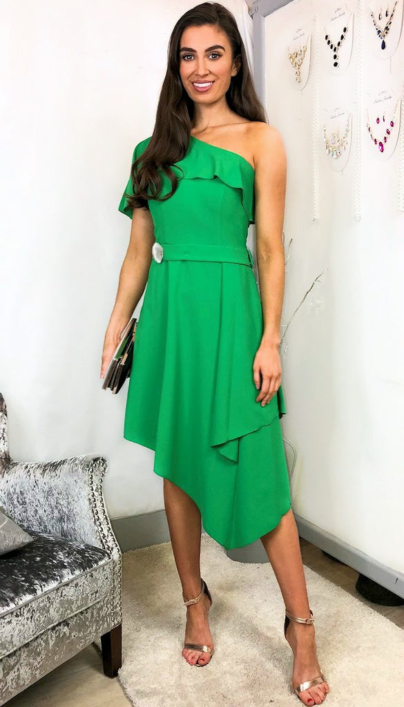 5823 Himari Green Asymmetrical Dress