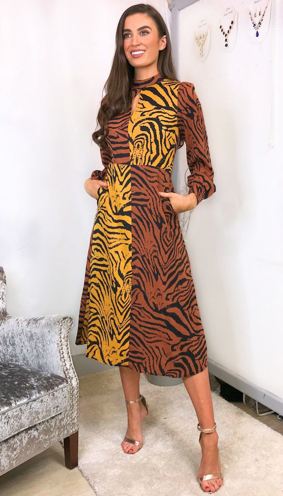 4-5915 Gretta Animal Print High Neck Dress