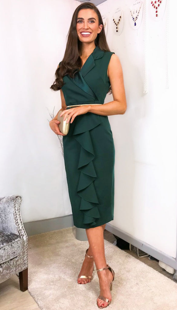 5-5996(B) - (SIZES 8,16 ONLY) - Estelle Green Tuxedo Dress