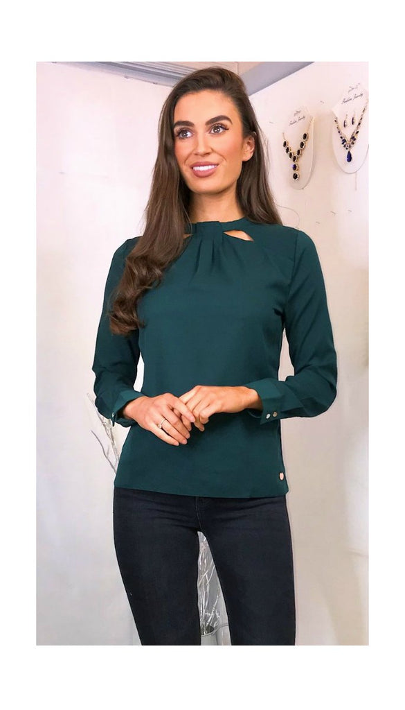 5925 Noreen Green Cut Out Blouse