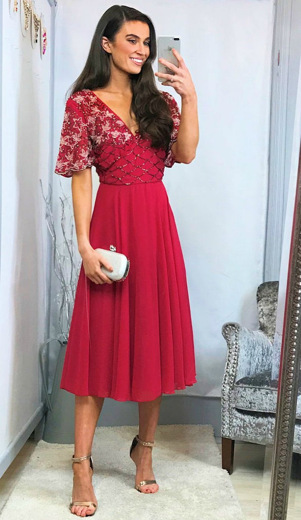 5-5882 - (SIZES 16 ONLY) - Dana Red Embellished Flare Dress
