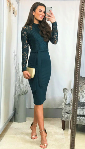 5931 Evie Blue Embellished Flare Dress