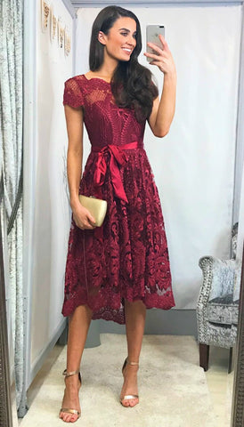 5918 Liffey Red Embellished Flare Dress