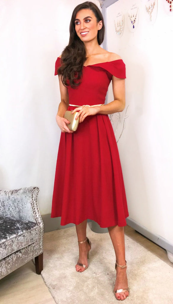 5921 Ryah Red Bardot Flare Dress