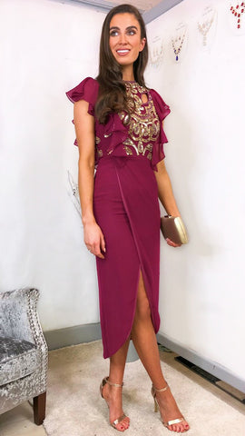 5896 Elanna Purple Lurex Maxi Dress