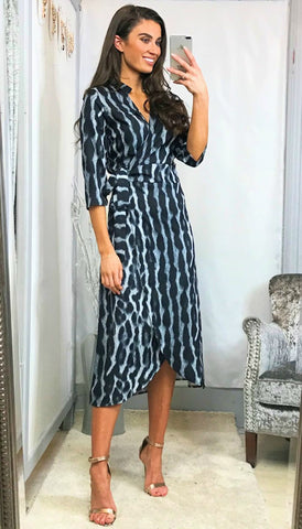 5915 Gretta Animal Print High Neck Dress