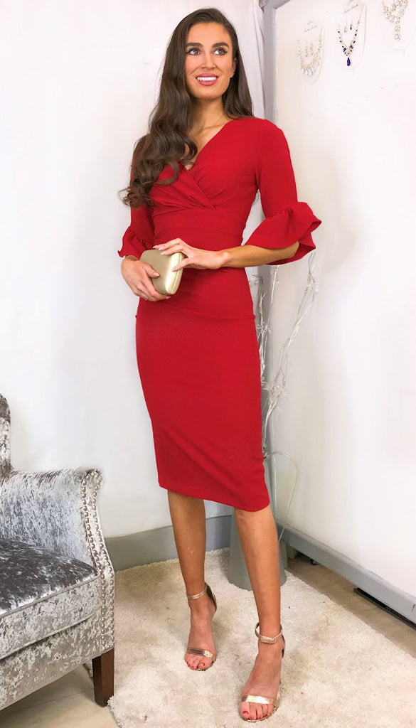 5954 Stephanie Frill Sleeve Pencil Dress