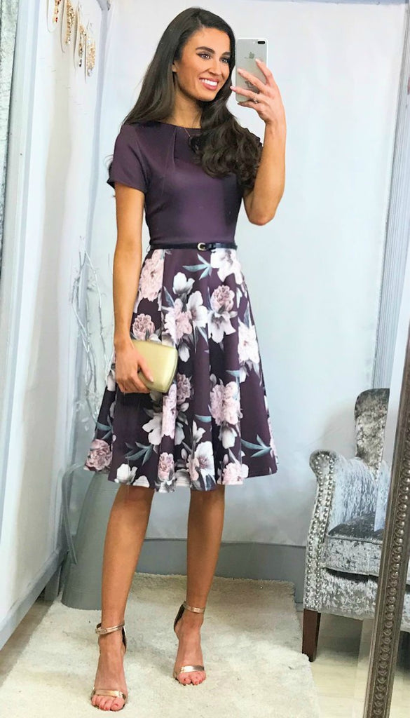 6027(B) - (SIZES 10,14,16) - Chris Purple Belted Floral Flare Dress
