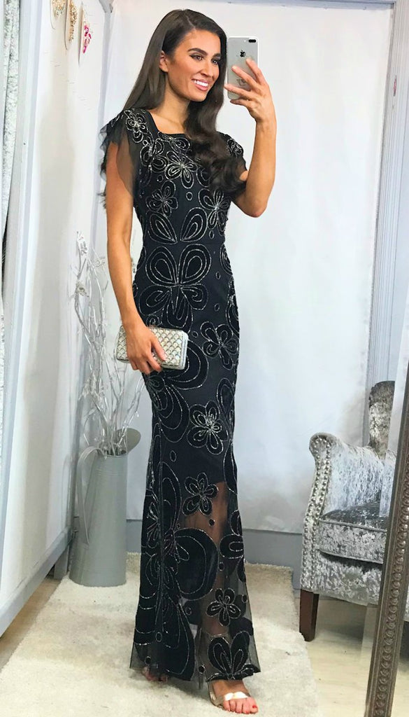 5-5992 (SIZE 10 ONLY) - Irma Black Embellished Maxi Dress
