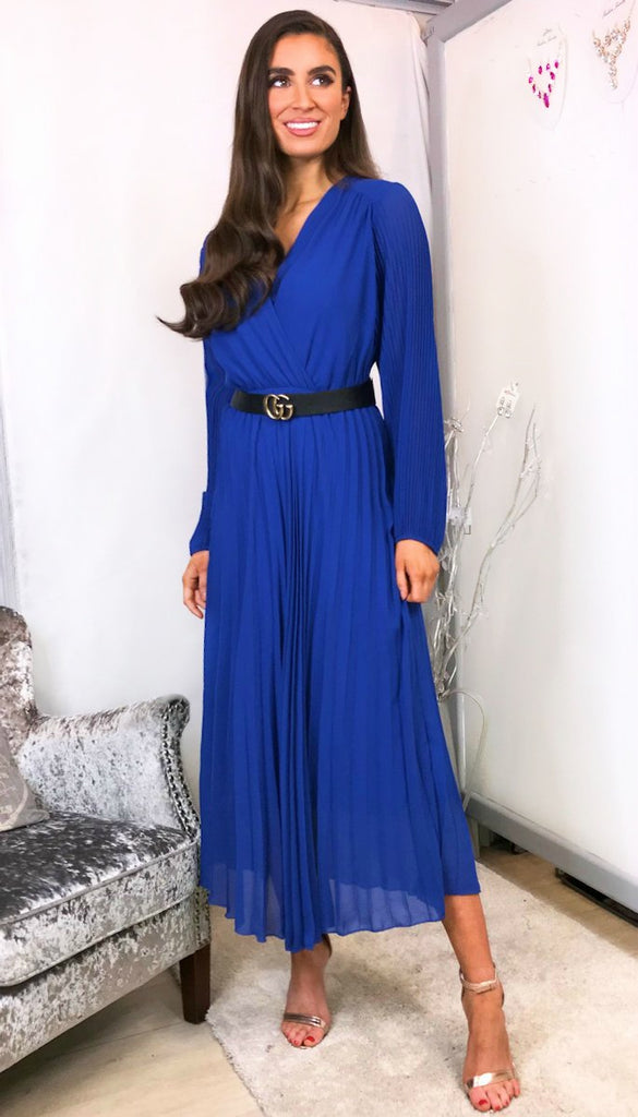 6024 - (SIZES 16,18 ONLY) - Lea Blue Pleat Midi Dress
