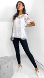 7607 White 2 Pce Crochet Top