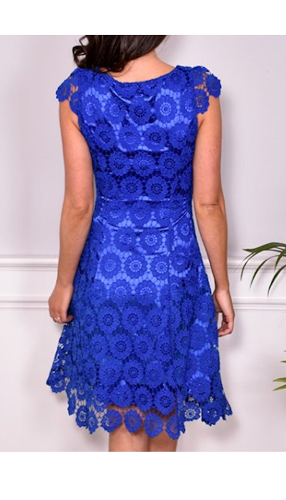 5-5328 - (SIZE 8 ONLY) - Blue Crochet Daisy Flare Dress