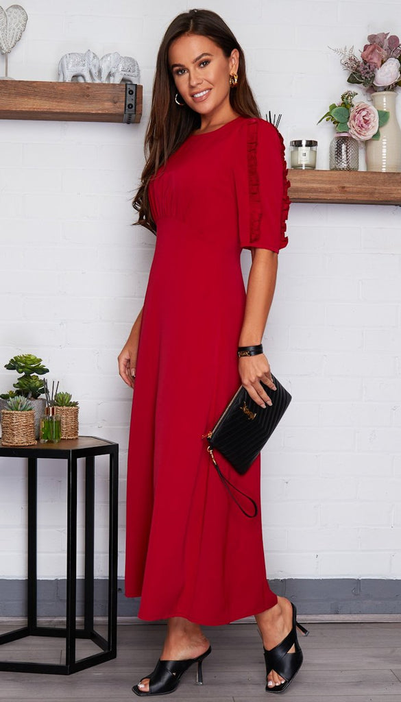 5-6740 - (SIZE 8 ONLY) - Kita Ruffle Sleeve Midi Dress