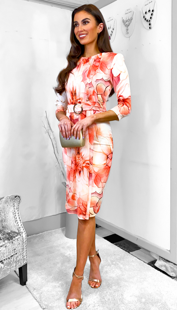 7681 Rani Orange Print Occasion Dress