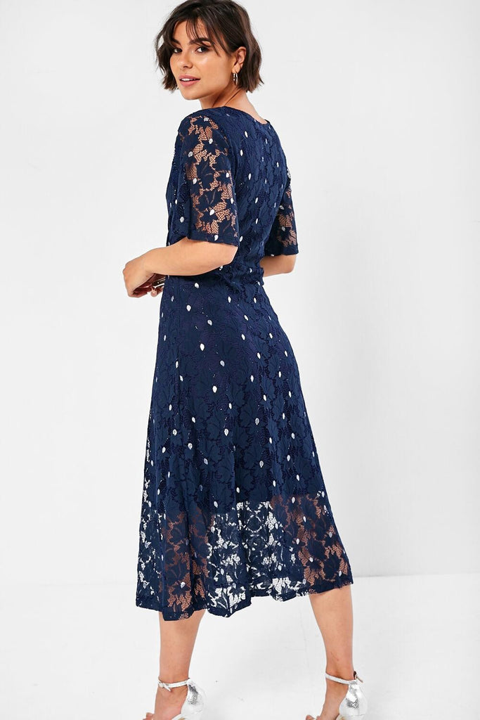 5-5840 - (SIZES 8,10) - Lara Navy Lace Floral Dress