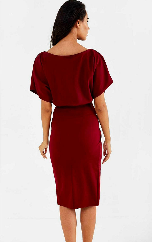 5-5858 - (SIZE 12 ONLY) - Veronica Wrap Skirt Burgundy Dress