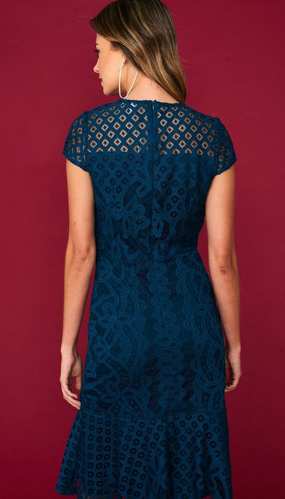 5074 Teal Fit & Flare Crochet Dress             - (SIZE 16 ONLY)