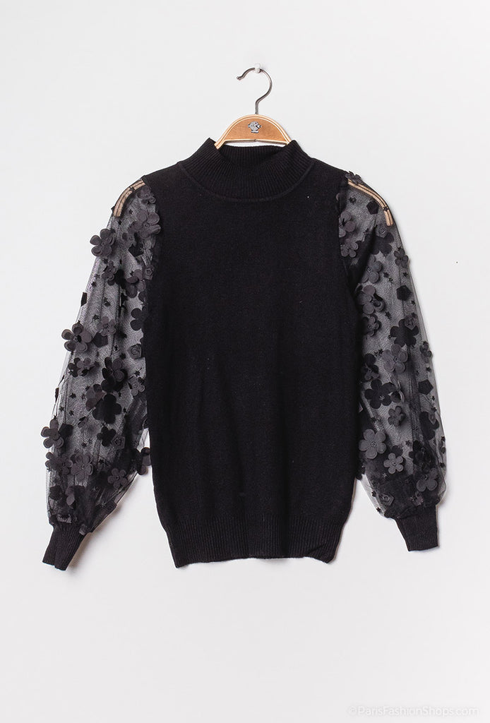 7126 Black Motif Sleeved Knit