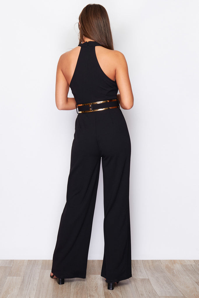 5701 Roxette Navy High Neck Jumpsuit