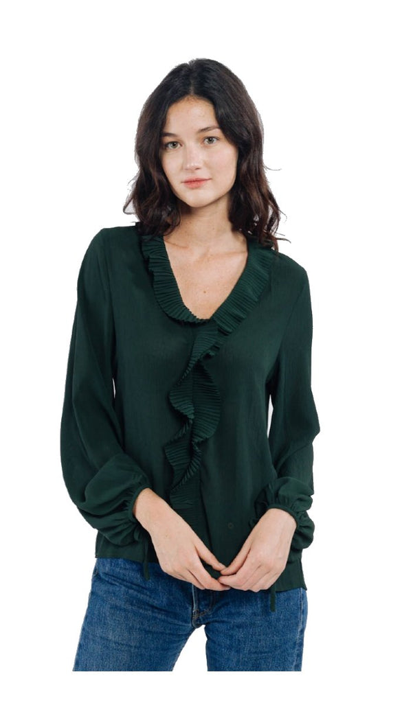 7124 Gianni Green Frill Blouse