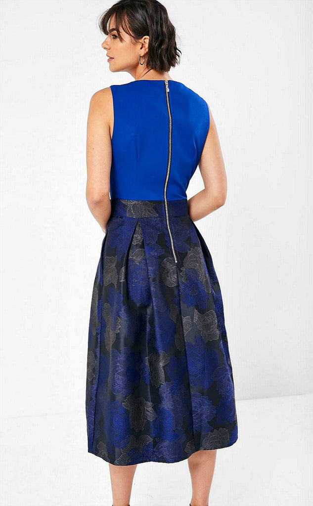 5-5997 - (SIZE 10,12 ONLY) - Louise Cobalt 2in1 Flare Dress