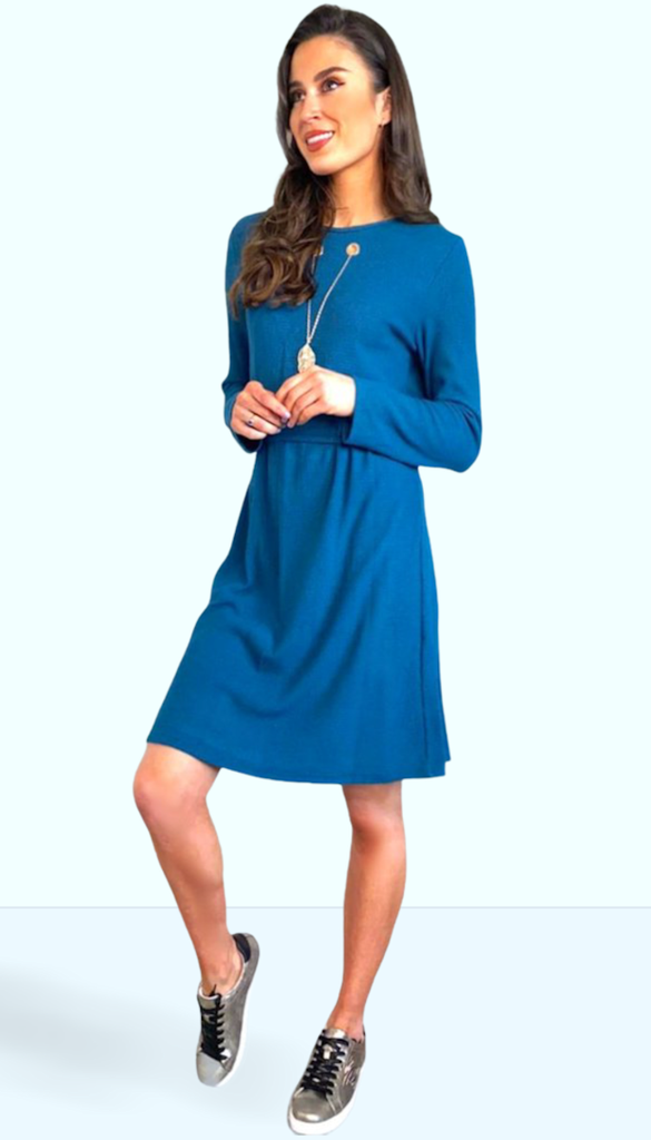 1-7409 Teal Tunic Dress With Chain