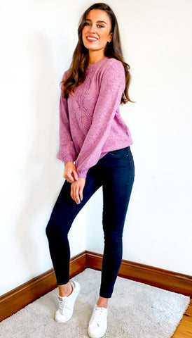 7187 Pink Knit Batwing Top